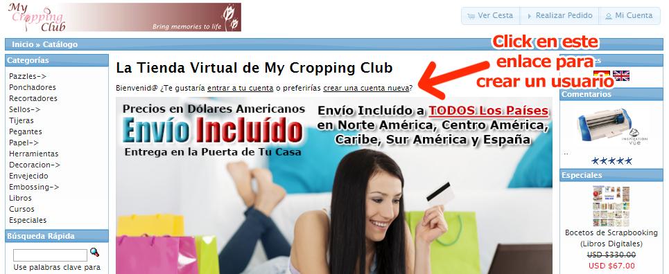 Crear Cuenta Nueva en Tienda Virtual Productos Scrapbooking y Tarjeteria